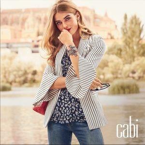 CAbi Pinstripe Bell Sleeve Blazer Jacket